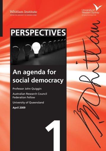 An agenda for social democracy - Whitlam Institute
