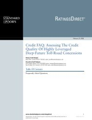 Assessing The Credit Quality Of Highly Leveraged Deep-Future Toll ...
