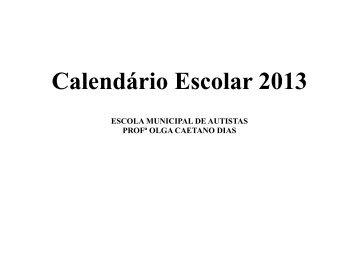 Calendário Escolar 2013 - Prefeitura Municipal de Passo Fundo