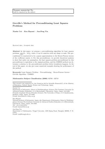 Greville's Method for Preconditioning Least Squares ... - Projects