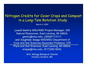 Nitrogen Credits for Cover Crops and Compost in a Long-Tem ...
