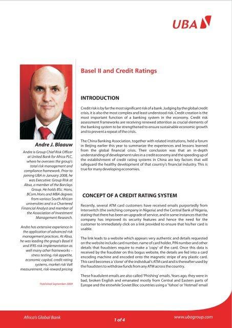 Basel II and Credit Ratings - UBA Plc