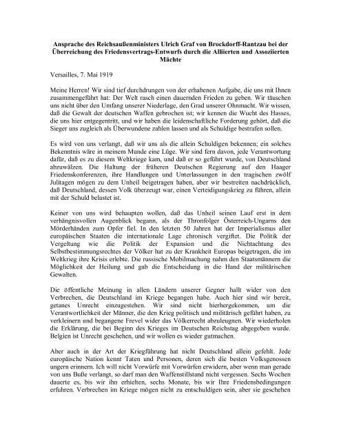 Ansprache des Reichsaußenministers Ulrich Graf von Brockdorff ...