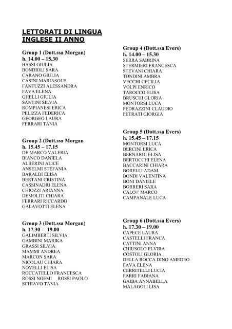 Students with 28/29 in Y1 lettorato exam