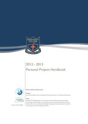 2012 - 2013 Personal Project Handbook - Woodcroft College