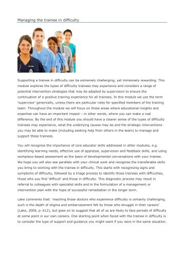 Managing the trainee in difficulty - Faculty Development - London ...