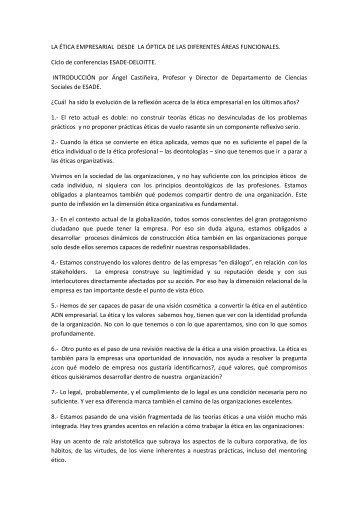 LA ÉTICA EMPRESARIAL DESDE LA ÓPTICA DE LAS ... - Gref