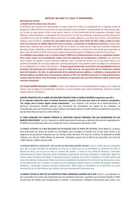 Noticias Del Gref Envío Del 27 De Enero De 2013 Archivo Pdf