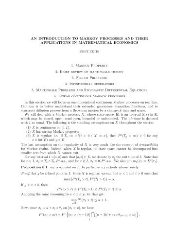 Lecture Noteds on One-dimensional diffusions - LSE Statistics