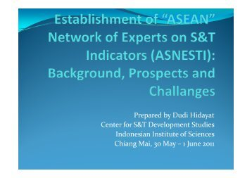 Overview and Background of ASEANESTI and S&T Statistics ...
