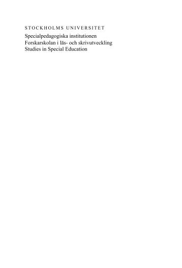 PDF-fil, 1 Mb - Specialpedagogiska institutionen - Stockholms ...