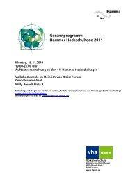 Gesamtprogramm Hammer Hochschultage 2011 - Friedrich-List ...