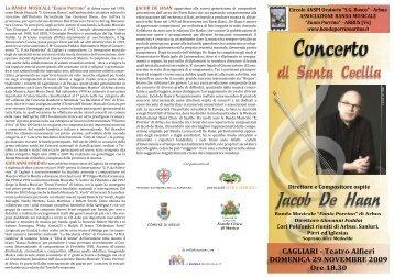 Locandina Concerto Santa Cecilia Arbus 2009 - Banda Musicale