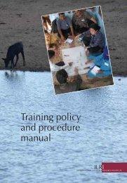 Training policy and procedure manual - International Livestock ...