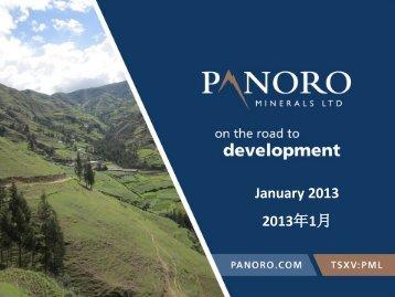 January 2013 2013年1月 - Panoro Minerals Ltd.