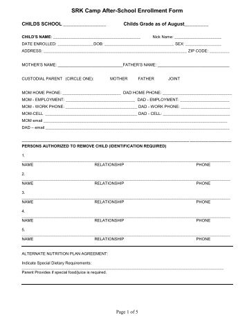After school program registration form template the best for Course enrolment form template