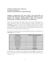 COMPANY REGISTRATION NUMBER 199907113K - Federal ...