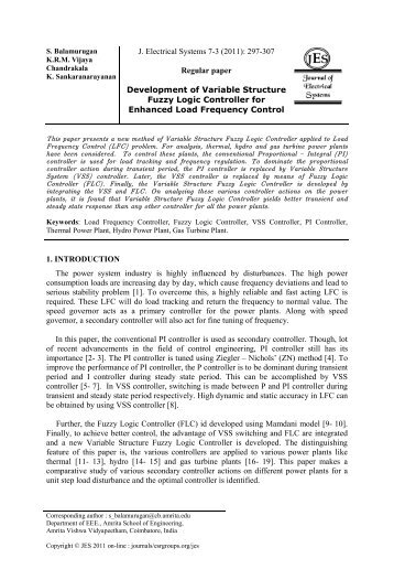 Regular paper Development of Variable Structure Fuzzy Logic ...