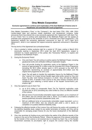 Orsu Metals Corporation Announces New Exclusive Right to ...