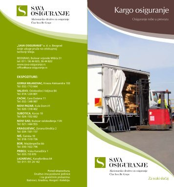 osiguranje robe u prevozu - kargo A - Sava Osiguranje