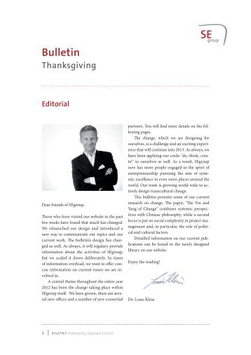 Thanksgiving-Bulletin II/2012 - Systemic Excellence Group
