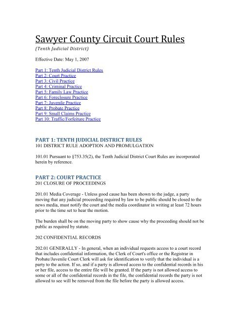 10th Circuit Rules That District Courts >> Sawyer County Circuit Court Rules State Bar Of Wisconsin