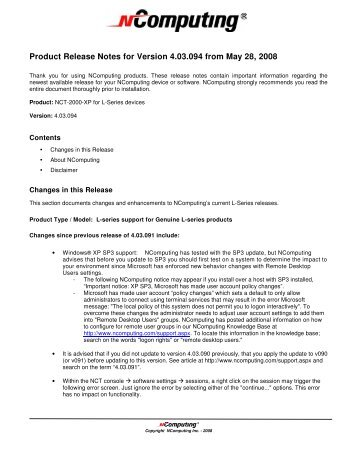 Product Release Notes for Version 4.03.094 from May 28, 2008