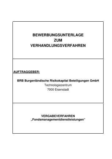 Bewerbungsunterlagen zum Verhandlungsverfahren - WiBAG
