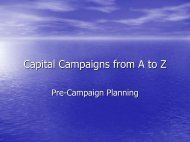 Capital Campaigns from A to Z: Pre-Campaign Planning - CASE