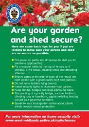 Are your garden and shed secure? - West Midlands Police