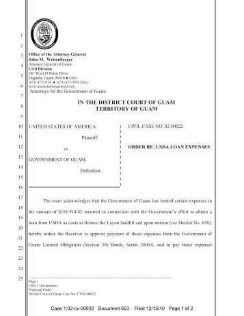 order re: usda loan expenses - District Court of Guam