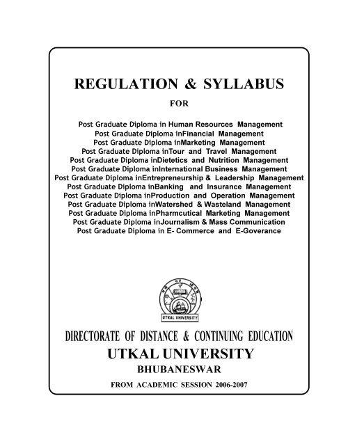 Regulation Syllabus Ddce Utkal University Bhubaneswar