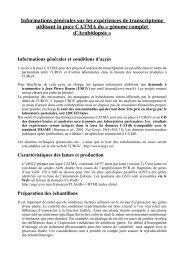 Informations générales sur les expériences de transcriptome ...