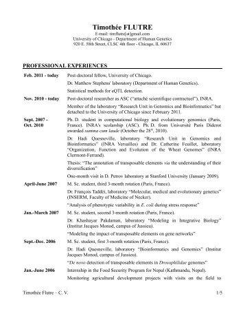 Curriculum Vitae of Timothée Flutre - URGI - Inra