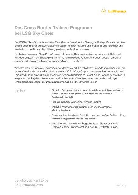 Das Cross Border Trainee-Programm bei LSG ... - Be-Lufthansa.com