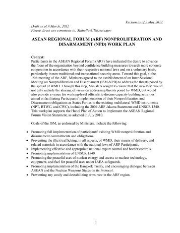 Annex H  Arf Work Plan On Maritime SecurityPdf  Asean Regional