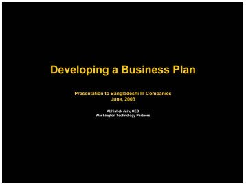 Developing a Business Plan Developing a Business Plan