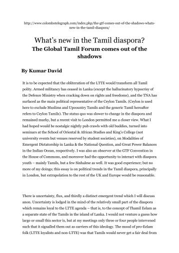 What's new in the Tamil diaspora? - Sri Lanka Advocacy