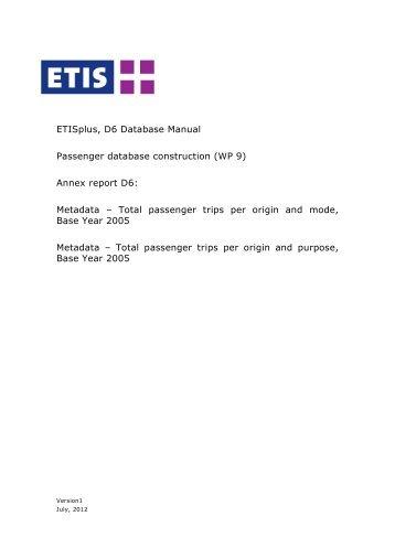 Total passenger trips per origin and mode and purpose ... - ETIS plus
