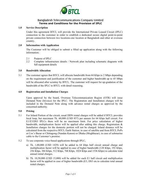 Iplc Agreement Form Btcl