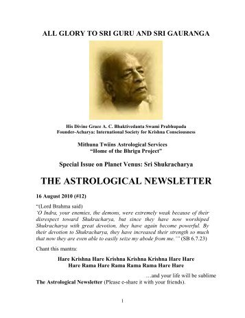 THE ASTROLOGICAL NEWSLETTER - Issue-12 - 2010 August 16