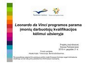 Leonardo da Vinci programos parama įmonių ... - Kultura 2007