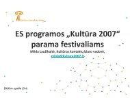 """Programos """"Kultūra 2007″ paramos festivaliams ... - Kultura 2007"""