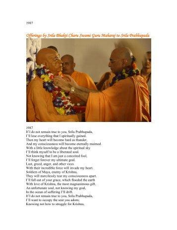 Offerings by Srila Bhakti Charu Swami Guru Maharaj to Srila ...