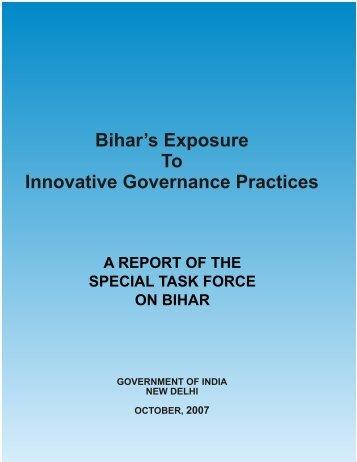 Bihar's Exposure To Innovative Governance Practices - of Planning ...