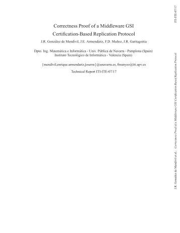 Certification-Based Database Replication Protocols ... - ITI - UPV