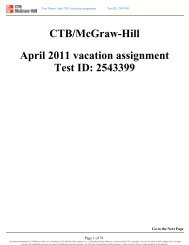 CTB/McGraw-Hill April 2011 vacation assignment Test ID ... - Is34.org