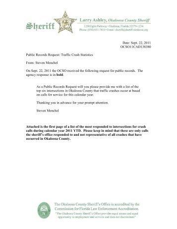 Sept. 22 - Traffic Crash Stats - Okaloosa County Sheriff's Office