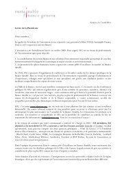 Lettre de la Présidente - Sustainable Finance Geneva