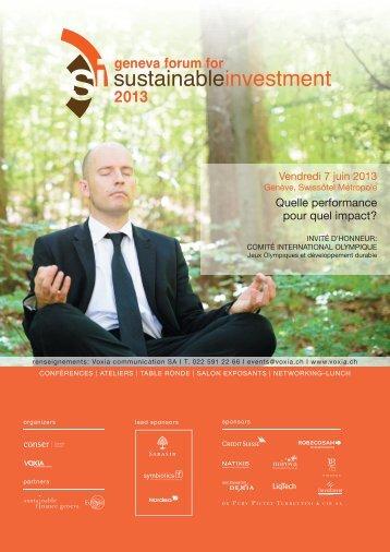 Quelle performance pour quel impact? - Sustainable Finance Geneva